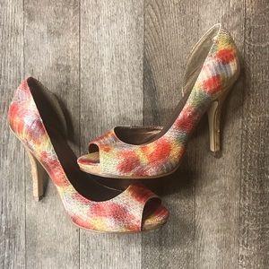 Colourful Peep Toe Size 8 Heels